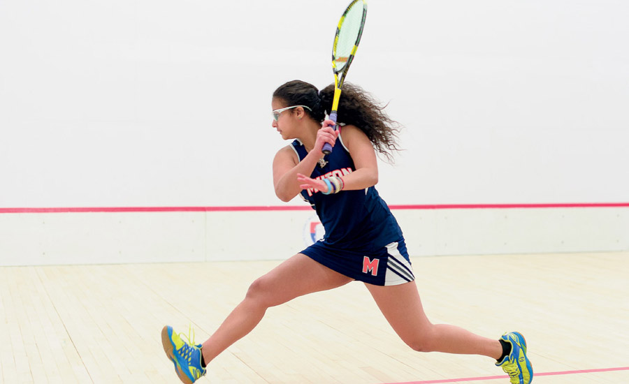 Raneem el Torky '17 An accomplished squash player from Alexandria, Egypt, finds her footing as a scholar-athlete