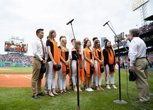 Milton Students Sing National Anthem at Fenway Park